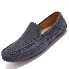 Spesifikasi Pinsv Suede Pria Flats Sepatu Kasual Loafers Slip On Grey Dan Harga