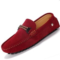 Harga Termurah Pinsv Suede Pria Flats Sepatu Kasual Loafers Slip On Merah