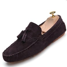 Harga Pinsv Suede Pria Sepatu Datar Berumbai Sepatu Kasual Loafers Slip On Dark Brown Di Tiongkok