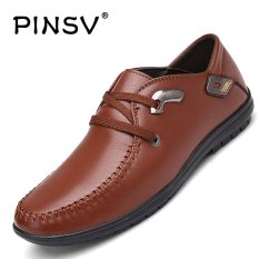 Harga Termurah Pinsv Synthethhic Kulit Pria Perhiasan Logam Campuran Bisnis Sepatu Kulit Sepatu Kasual Brown Intl