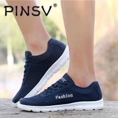 PINSV Ukuran Besar Pria Fashion Sneakers Kasual Mesh Sepatu (Navy Blue)