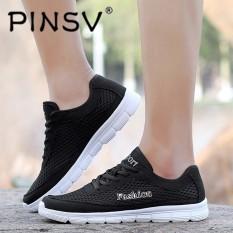 PINSV Ukuran Besar Pria Sport Shose Casual Menjalankan Sepatu (Hitam)-Intl