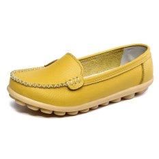 Spesifikasi Pinsv Sepatu Kulit Wanita Mengenakan Sepatu Sandal Ibu Anti Selip Pantofel Kuning Terbaru