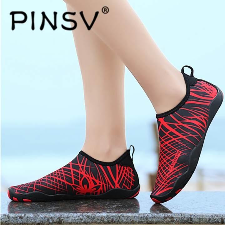 PINSV Wanita Outdoor Sepatu Bernapas Sepatu Air Renang Slip-On Sepatu Yoga Sepatu Sepatu Pantai Hulu Trekking Barefoot Sepatu Mengemudi-Intl