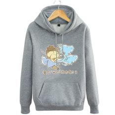 Pioneer Hanzo Pria atau Wanita Indonesia Ngumpul Di Sini Jas Sweter Tanpa Kancing Kaos Sweater Kaos Sweater (Abu-abu 2)