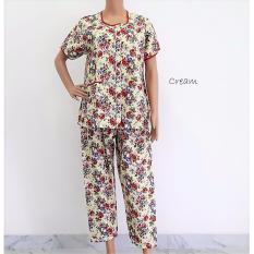 Pitakita Baju Tidur Celana Panjang Katun Jepang-Cream