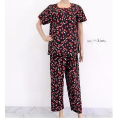Kualitas Pitakita Baju Tidur Celana Panjang Katun Jepang Stawberry Hitam Pitakita