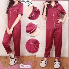 Piyama Basic Satin Maroon    Baju Tidur Celana Panjang Satin Silky Velvet