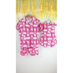 Piyama Katun Celana Pendek Baju Tidur Couple Ibu Anak Kitty Pink - Ghuh23