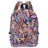 Promo Plant Print Canvas Zipper Portable Backpack Vertikal Ungu Intl Not Specified