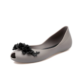 Promo Sepatu Sandal Wanita Plastik Hak Datar Anti Selip Versi Korea Abu Abu Tiongkok