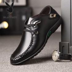 Playboy Korea Modis Gaya Pria Kulit Bernapas Sepatu Angsa Emas Sepatu Kulit Sepatu Pria (HHGZ8616 Hitam)