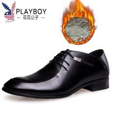 Playboy Sepatu Pria Musim Panas Sepatu Kulit Formal Bisnis Kulit (F002165140-3 Tambah Beludru Hitam)