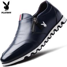 Playboy Kulit Pria Menginjakkan Kaki Sepatu Sepatu Pria (Biru Tua)