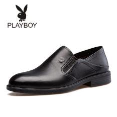 Beli Playboy Kulit Putaran Menginjakkan Kaki Lembut Sepatu Sepatu Pria Hitam Seken