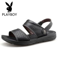 PLAYBOY Pantai Kulit Pria Bernapas Sandal Summer Sepatu Pria (Hitam)