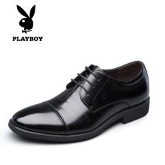 Playboy Pola Kulit Ular Pria Pointed untuk Sepatu Bisnis Sepatu Kulit (Hitam)
