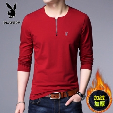 Situs Review Playboy Korea Fashion Style Kapas Pria Musim Semi Atasan Pria Kaos Merah Tambah Beludru
