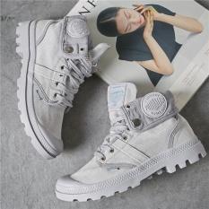Plus Ukuran 35-40 4 Warna Baru Fashion PALLADIUM Pria Top Sepatu Kanvas Flanging Militer Boots Ankle Martin Boots Nyaman Padat Slip-Intl