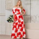 Toko Plus Ukuran 5Xl 6Xl Gaun Wanita Musim Panas Sifon Fesyen Gaun Cetak Out Bahu Seksi Bohamian Pantai Gaun Womens Gaun Panjang Ukuran Besar Putih Merah Intl Murah Di Tiongkok