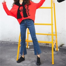 Plus Ukuran Nyaman Skinny Lebar Kaki Celana Wanita Lurus Jeansmid Pinggang Celana Panjang Penuh Biru Wanita Denim jeans & NB-Intl