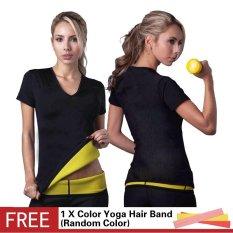 Plus Ukuran S-3XL Neoprene Pelangsing Tubuh Pembentuk Kontrol Puncak Panas Shapers Menurunkan Berat Badan Wanita Kebugaran Lengan Bang Pendek T Shirt Spontan Super Stretch Workout Pakaian