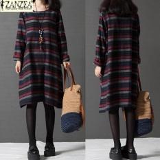 Plus Ukuran S-5XL zanzea Terbaru Fashion Women Round Neck Panjang Lengan Kasual Longgar Retro Striped Splice Panjang Shirt Dress (merah) -Intl