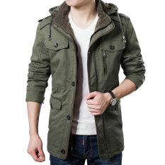 OTO2 Mantel Musim Dingin/Pria Bertudung Jaket/Tebal Parka Mantel (Hijau Tentara Warna)