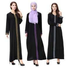 PLUS Wanita Maxi Panjang Lengan Panjang Gaun Sulaman Maroko Kaftan Kaftan Jilbab Islam Abaya Muslim Turki Arab Jubah Gaun- INTL