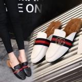 Beli Plush Baotou Sandal Wanita 2017 Musim Gugur Dan Musim Dingin Ditambah Lazy Sepatu Intl Secara Angsuran