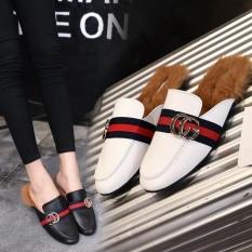Promo Plush Baotou Sandal Wanita 2017 Musim Gugur Dan Musim Dingin Ditambah Lazy Sepatu Intl