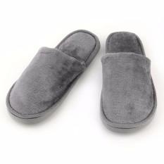 Spesifikasi Plush Sandal Sandal Indoor Sandal Pria Lembut Katun Hangat Diam Sandal Abu Abu Intl Bagus
