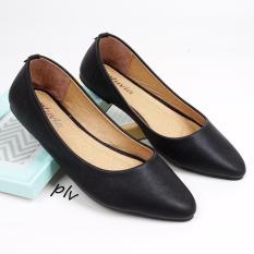 Pluvia Pointed Toe Flat Shoes Wanita DB169 - Hitam