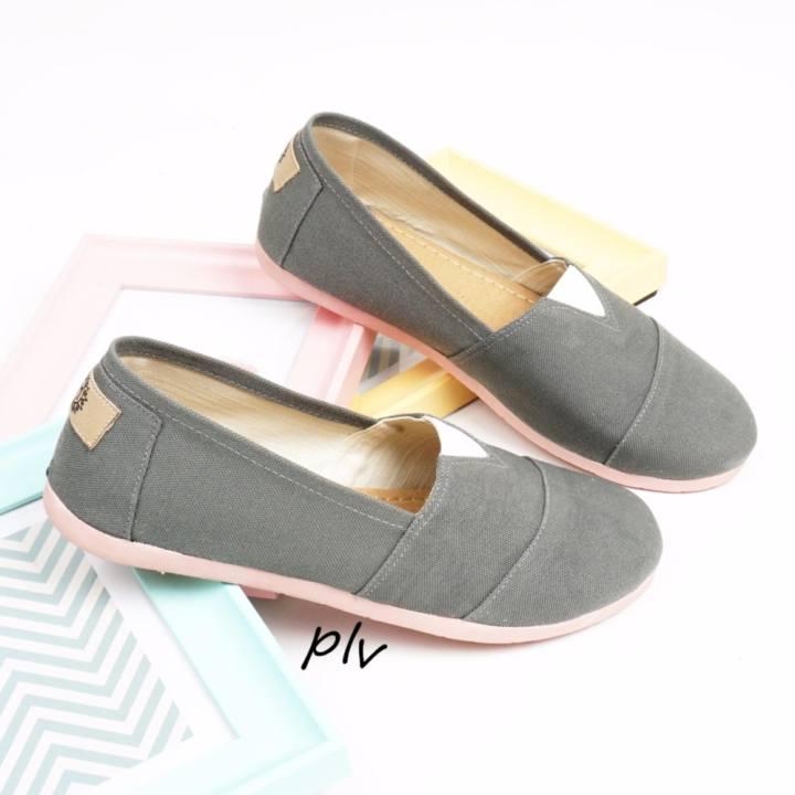 Sepatu Wanita Flat Shoes Slip On Kanvas NS55 Abu