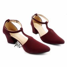 Kualitas Pluvia Sepatu Pantofel High Heels T Strap Wanita Ch02 Maroon Pluvia
