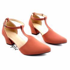 Pluvia - Sepatu Pantofel High Heels T-Strap Wanita CH02 - Salem