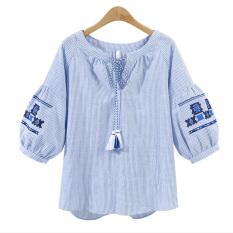 Baju Ukuran Besar Longgar Suchao (Biru bergaris) (Biru bergaris)