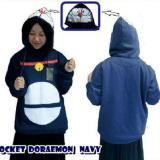 Diskon Pocket Doraemon Fleece Jaket Parka Ziper Hoodie Casual Atasan Wanita