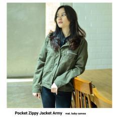Jual Pocket Zippy Jacket Army Jaket Cewe Jaket Wanita Branded Murah