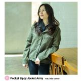Harga Pocket Zippy Jacket Army Branded