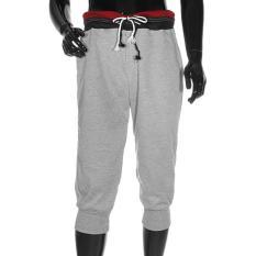 PODOM Fashion Pria 3/4 Knee Jogger Sport Celana Pendek Tali Celana Baggy Gym Harem Pants Grey