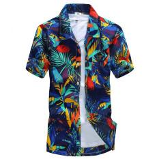 Promo Podom Pria Kasual Musim Hot Pantai Hawaii Holiday Bermotif Bunga Lengan Pendek Kancing Baju Pesta Atasan Tee Kaos Daun Cetak Podom Terbaru
