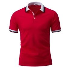 Podom Pria Fashion Tinggi Kualitas Kapas Lengan Pendek POLO Shirt RED-Intl