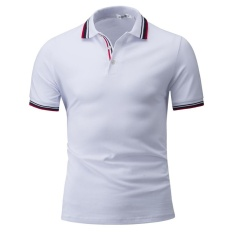 Podom Pria Fashion Tinggi Kualitas Kapas Lengan Pendek POLO Shirt Putih-Intl