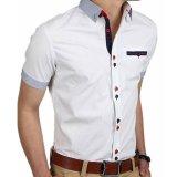 Jual Podom Mens Slim Fit Lengan Pendek Casual Dress Shirt Formal Bisnis T Shirt Tee Tops Putih Grosir