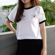 POLARISSHIRT - T-shirt GHOST SNAPCHAT Ringer Patch Cewek / Kaos Wanita / Tshirt Cewe Cotton Combad / Kaos Oblong / Trending Shirt