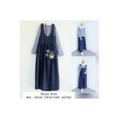 Polka Dress / Baju Polkadot / Gamis Murah / Setelan Hijab / Baju Korea