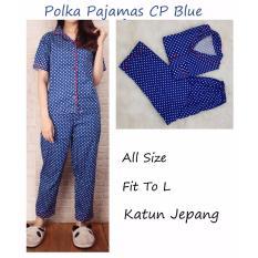 Polka Pajamas Biru Benhur CP  Pakaian Tidur Wanita Dewasa  Piyama Wanita Dewasa  Piyama Celana Panjang Baju Tidur Celana Panjang Wanita