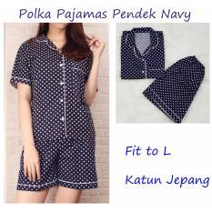 POLKA Pajamas Navy Piyama Celana Pendek  Piyama Wanita Dewasa  Baju Tidur Wanita Dewasa