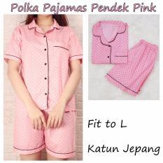 POLKA Pajamas Pink  Piyama Celana Pendek  Piyama Wanita Dewasa  Baju Tidur Wanita Dewasa